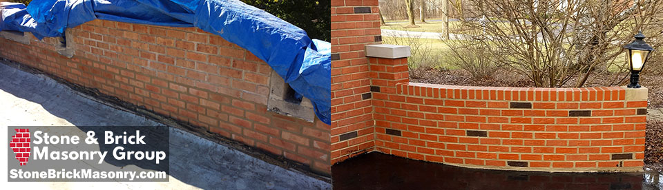 Brick retaining walls