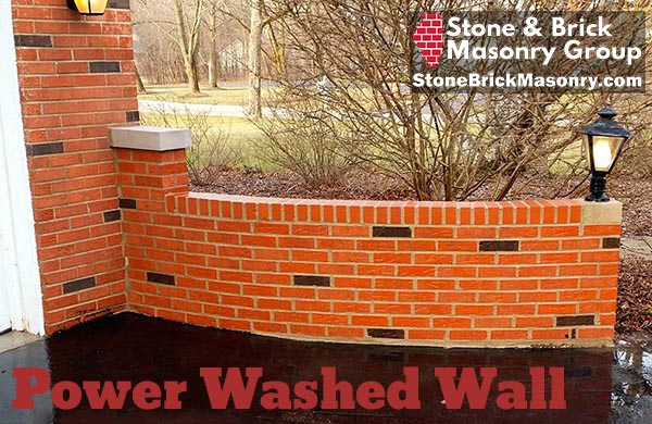 power washed brick wall
